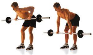 тяга штанги в наклоне к поясу упражнение