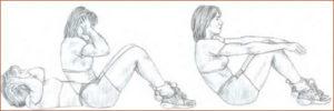 подъем корпуса к коленям
