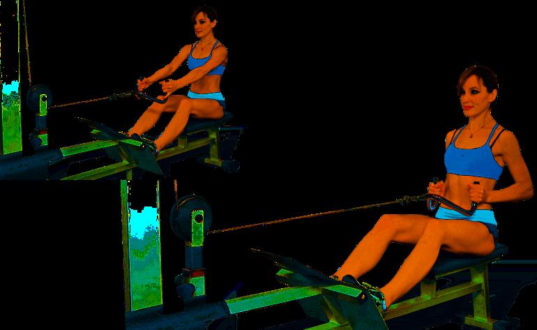 упражнения для набора массы для девушек - тяга горизонтального блока