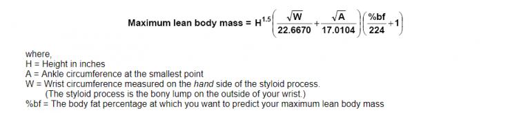 формула-сколько накачать массы без стероидов
