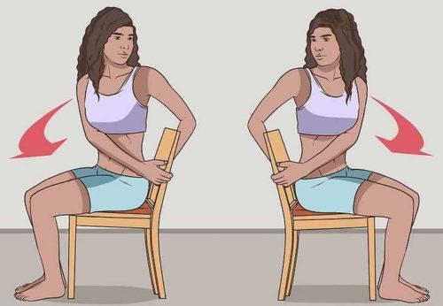 упражнение скручивания сидя
