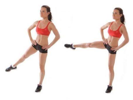 махи ногой в сторону от ямок на ягодичных мышцах
